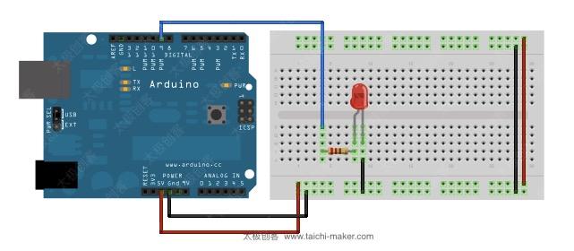 arduino-fade-led电路连接说明