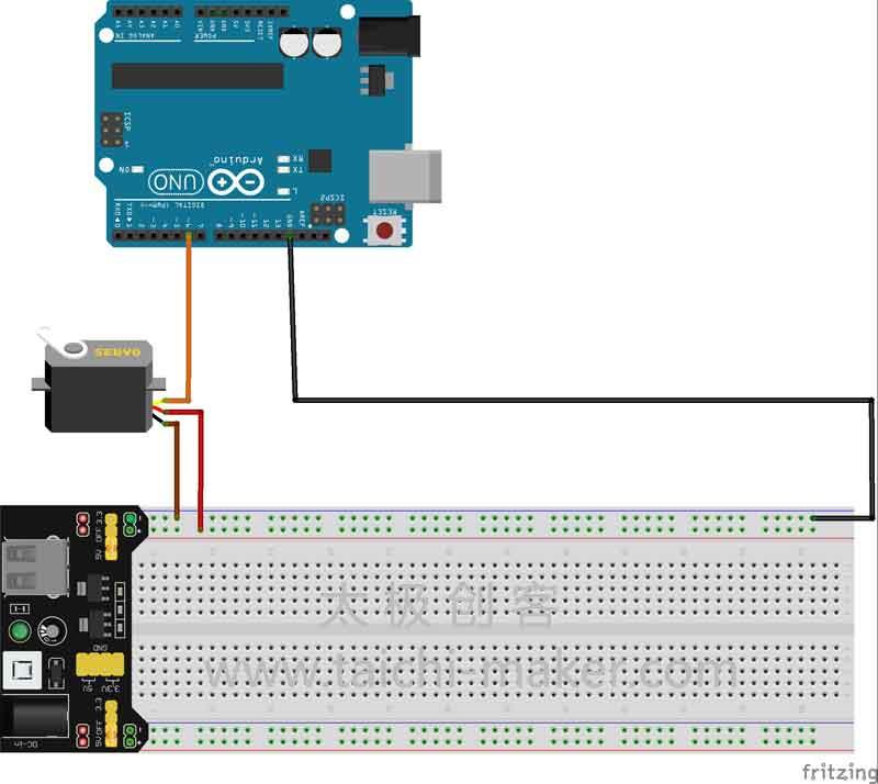 用Arduino控制MeArm的1个电机的电路连接