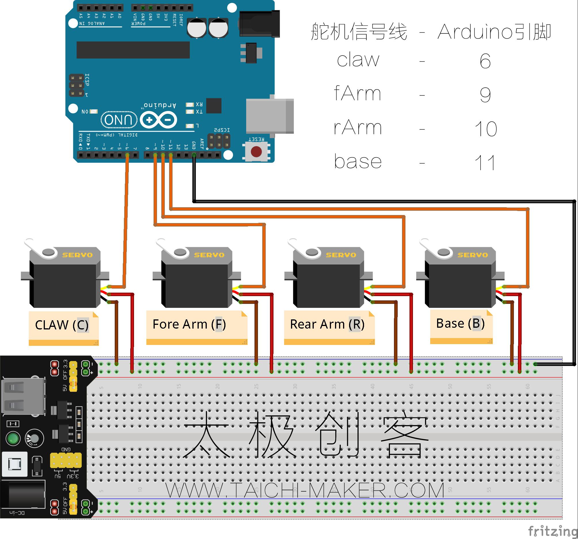 Arduino control MeArm's Servos