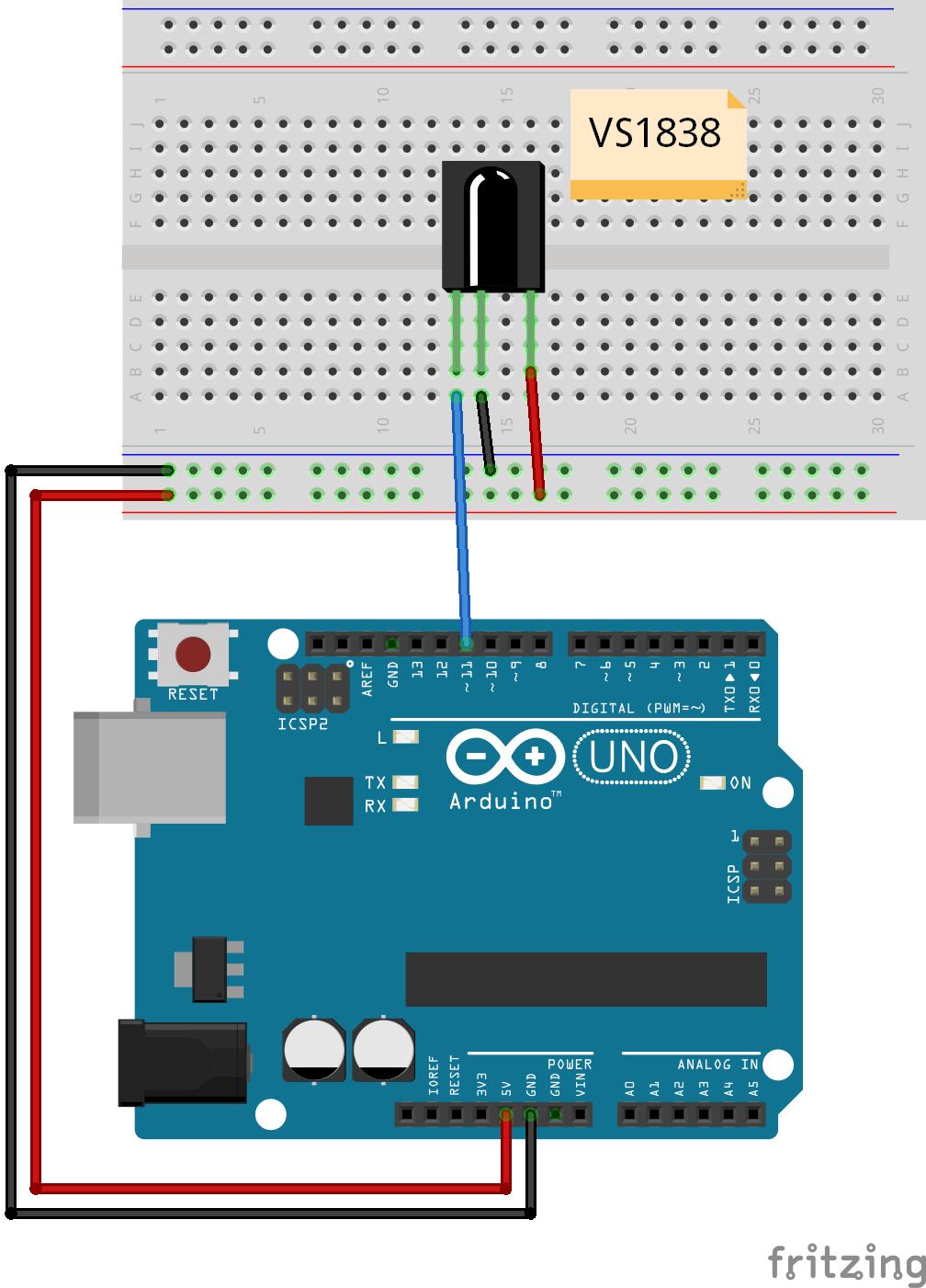 Arduino控制红外接收器电路图