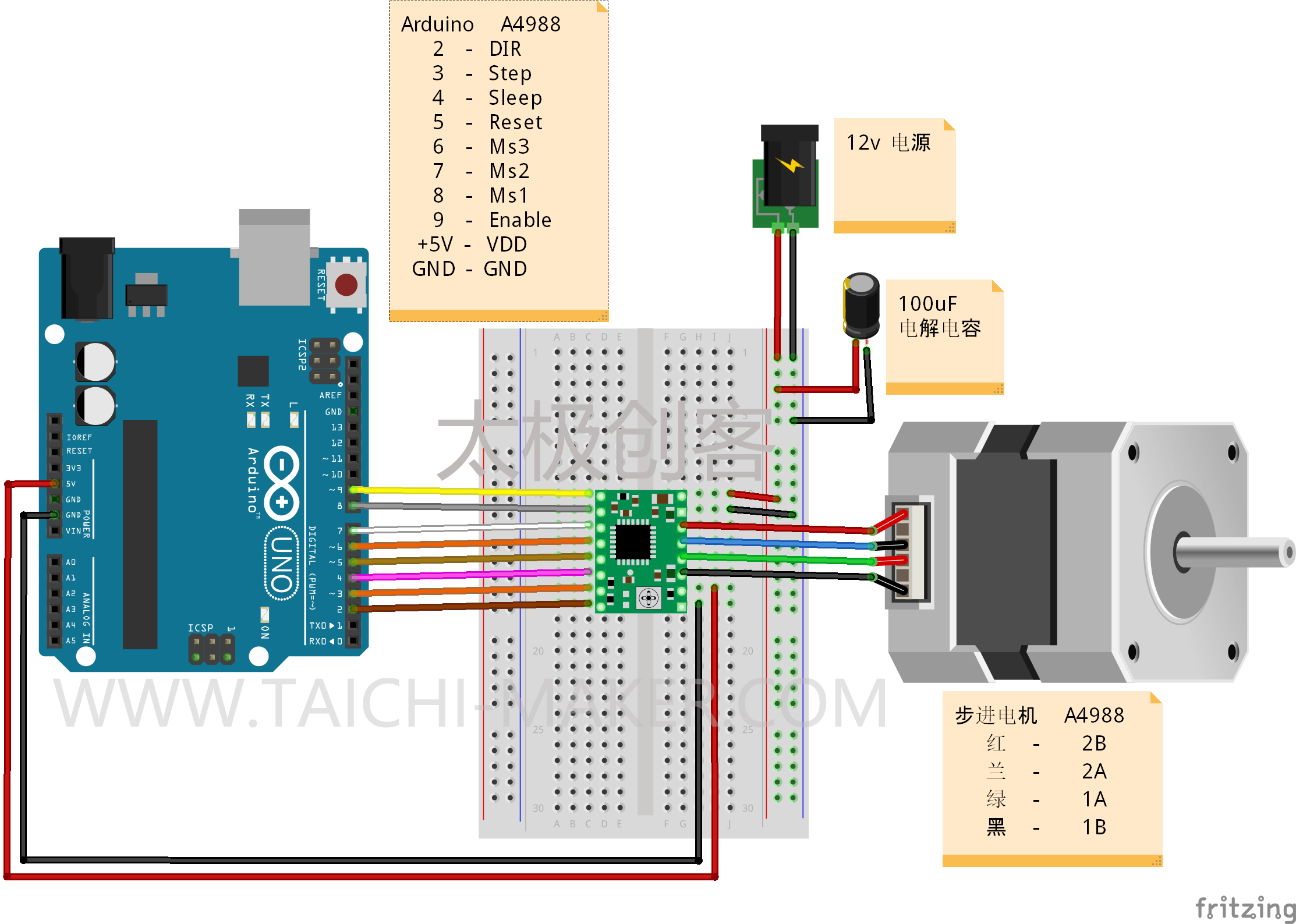 42步进电机驱动电路_A4988驱动NEMA步进电机(42步进电机) – 太极创客