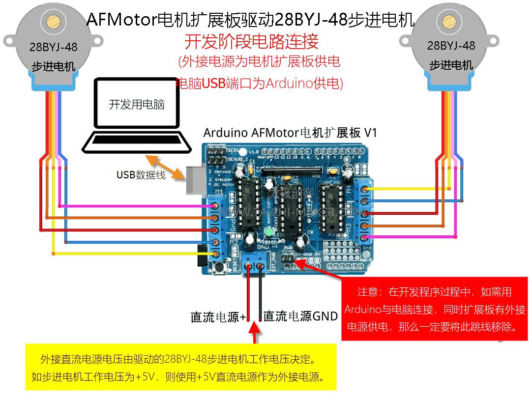 AFMotord电机扩展板驱动28BYJ-48步进电机(开发时电路连接)