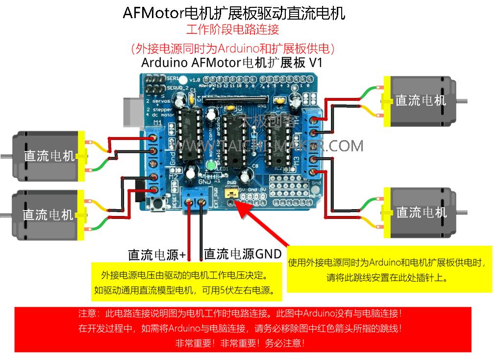 AFMotor电机扩展板驱动直流电机(工作阶段)