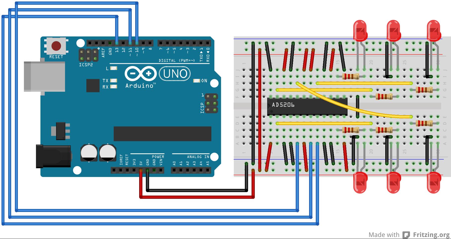 AD5206_arduino_电路连接 Arduino SPI协议 太极创客