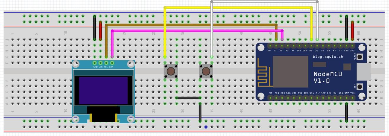 ESP8266 Pong 连线图