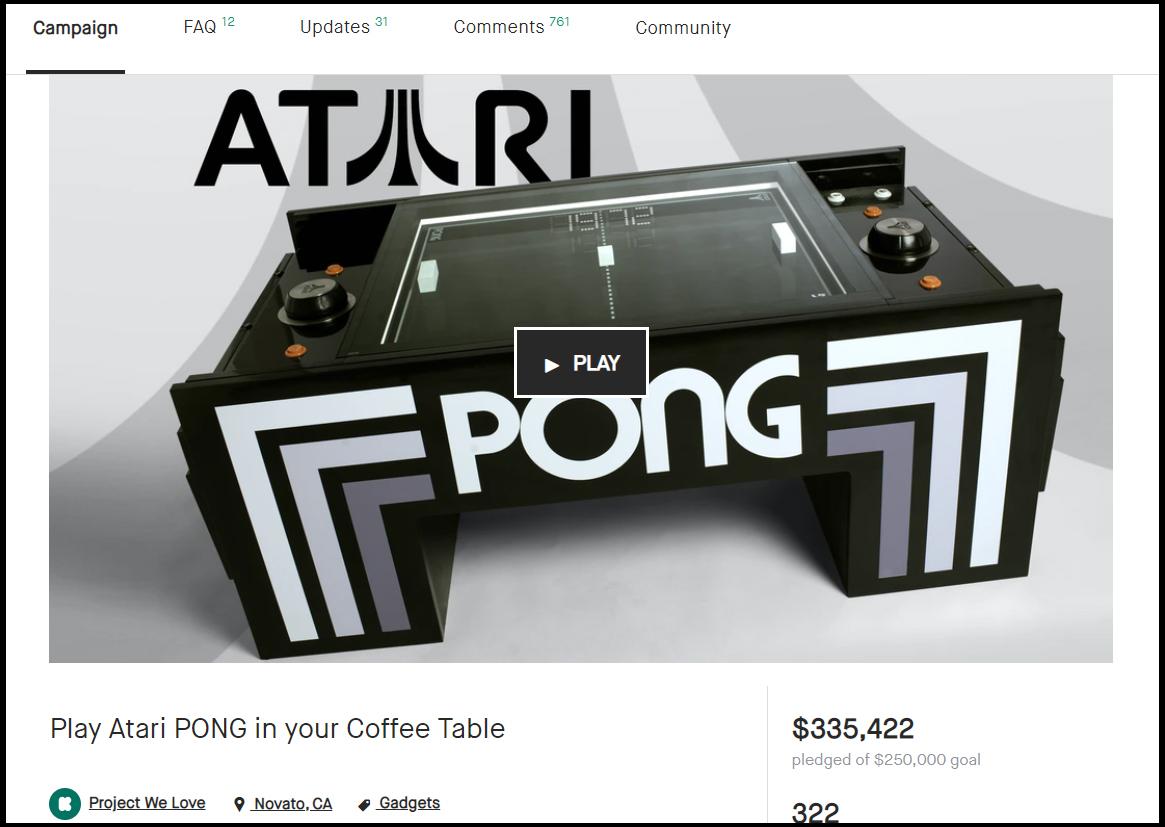 美国知名众筹网站Kickstarter中的Pong咖啡桌项目