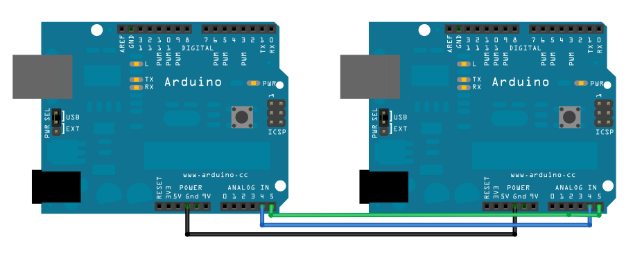 Wire板间通讯电路图Arduino IIC协议 Wire 太极创客